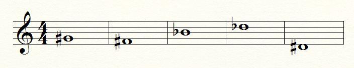 זהה את הצלילים הבאים, רשום את שמם ואת הסימן שלהם, דיאז או במול